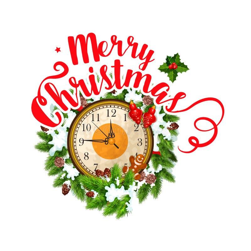 С Рождеством Христовым значок часов вектора приветствию иллюстрация вектора