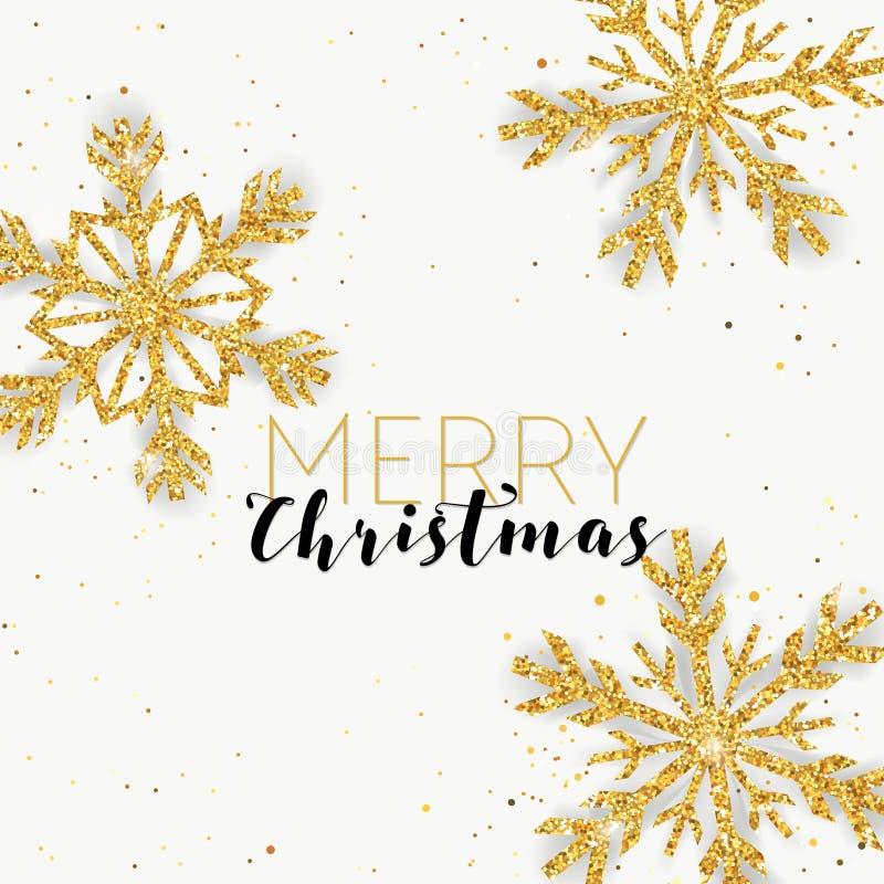 С Рождеством Христовым золотая карточка снежинок яркого блеска для ваших приглашения или дизайна бесплатная иллюстрация