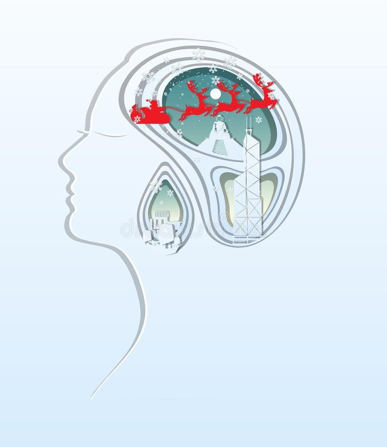 С Рождеством Христовым и с новым годом Бумажное искусство высекает головы женщины иллюстрация вектора