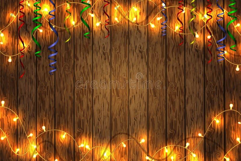 С Рождеством Христовым и с новым годом Гирлянда рождества на деревянной предпосылке Предпосылка с космосом экземпляра стоковое изображение