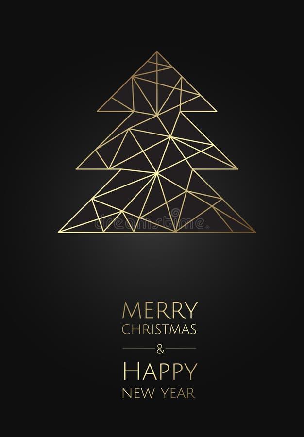 С Рождеством Христовым и с новым годом Карта шаблона вектора современная Абстрактная геометрическая рождественская елка иллюстрация вектора