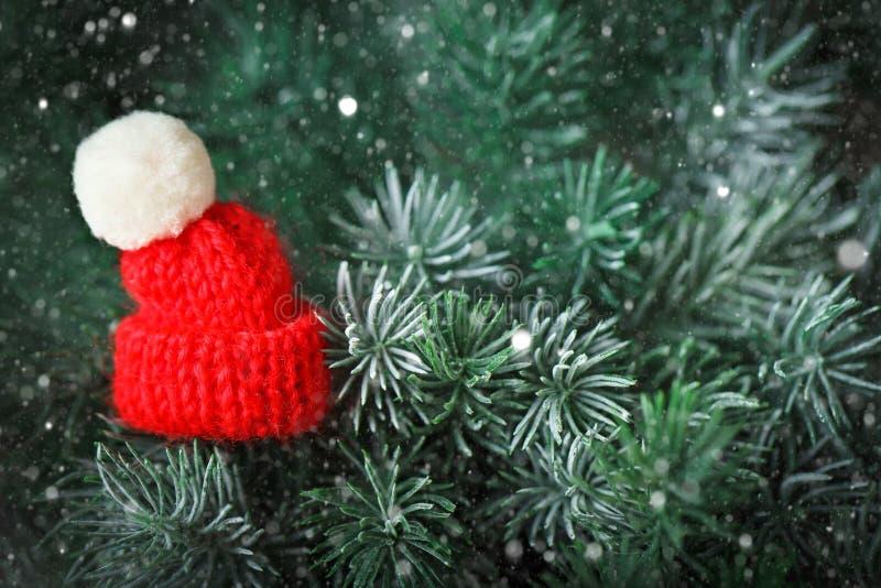 С Рождеством Христовым и с новым годом Немногое связанная шляпа на рождественской елке Предпосылка с космосом экземпляра стоковая фотография