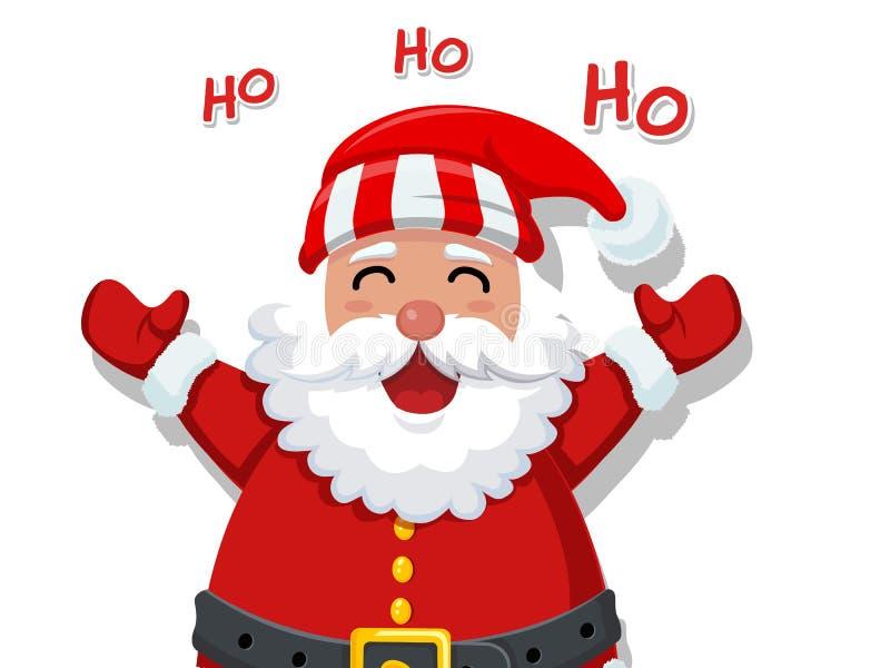 С Рождеством Христовым и с новым годом Смешной шарж Санта Клаус иллюстрация вектора