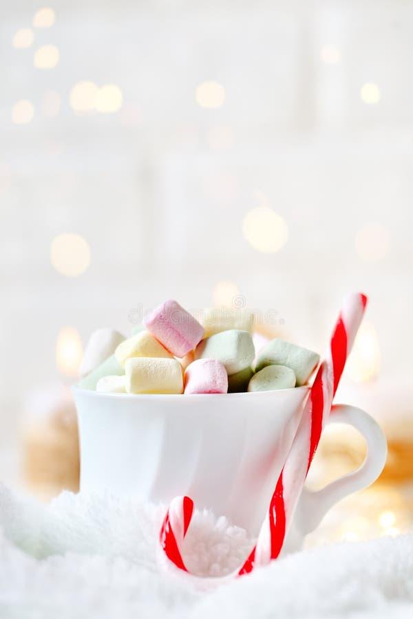 С Рождеством Христовым и с новым годом Чашка какао и зефиров на светлой предпосылке Селективный фокус Рождество стоковые изображения rf