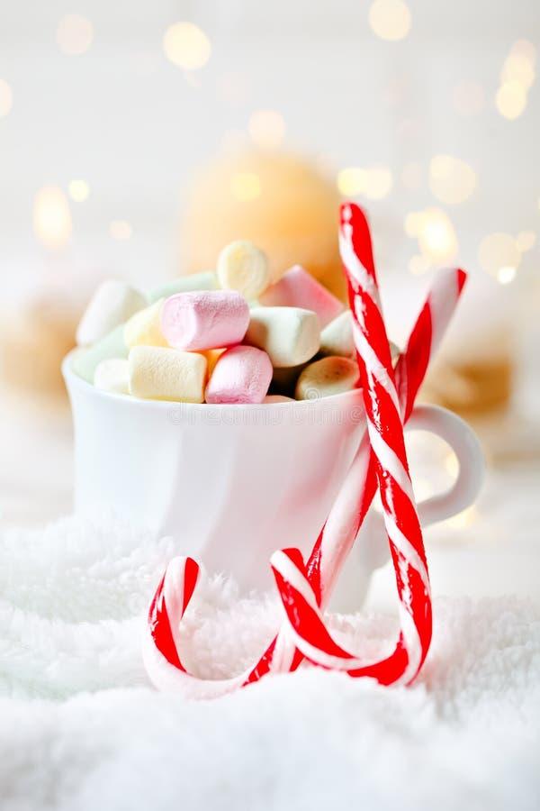 С Рождеством Христовым и с новым годом Чашка какао и зефиров на светлой предпосылке Селективный фокус Рождество стоковое фото