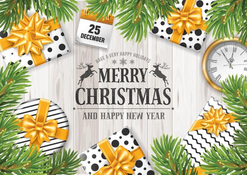 С Рождеством Христовым и с новым годом иллюстрация штока