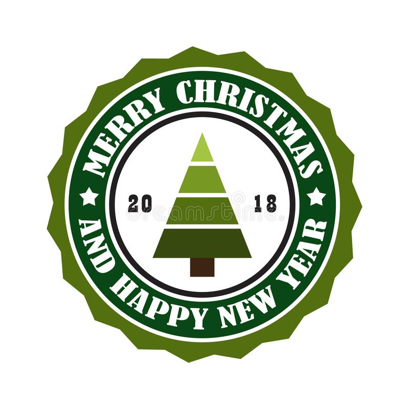 С Рождеством Христовым и счастливая бирка штемпеля Нового Года 2018 иллюстрация штока