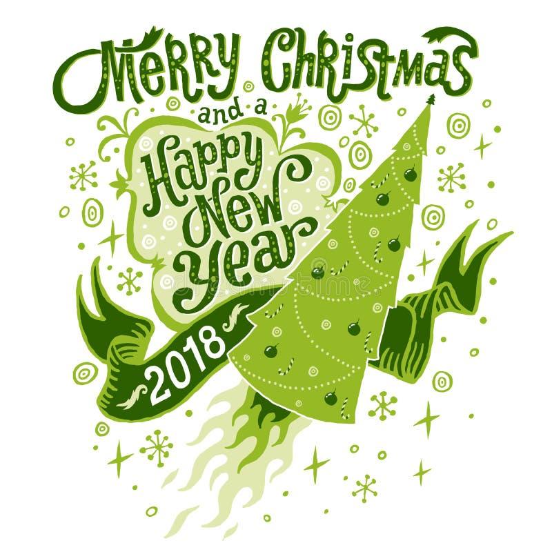 С Рождеством Христовым и счастливая Нового Года поздравительная открытка 2018 Изолированная иллюстрация вектора, плакат, invitat бесплатная иллюстрация