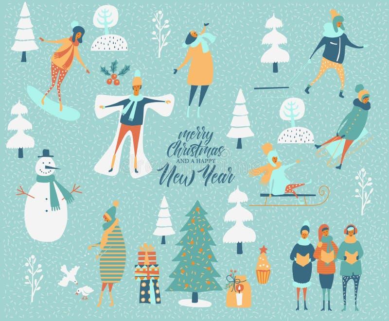 С Рождеством Христовым и счастливая поздравительная открытка вектора Нового Года с играми и людьми зимы шаблон торжества моделиро иллюстрация вектора
