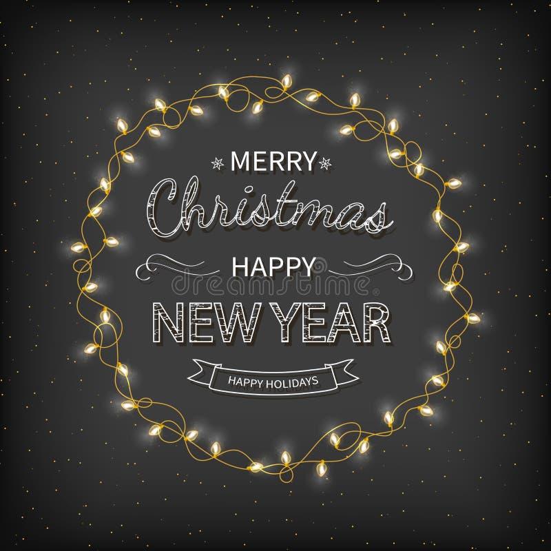 С Рождеством Христовым и счастливая предпосылка приветствию Нового Года Красивая литерность с гирляндами, золотая сусаль логотипа иллюстрация вектора