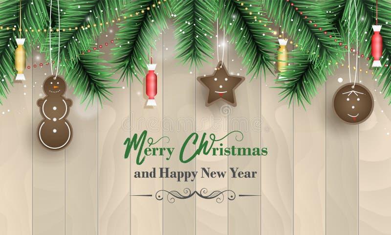 С Рождеством Христовым и счастливое знамя Нового Года с деревянной картиной, зелеными ветвями, снежностями, украшениями пряника и иллюстрация штока