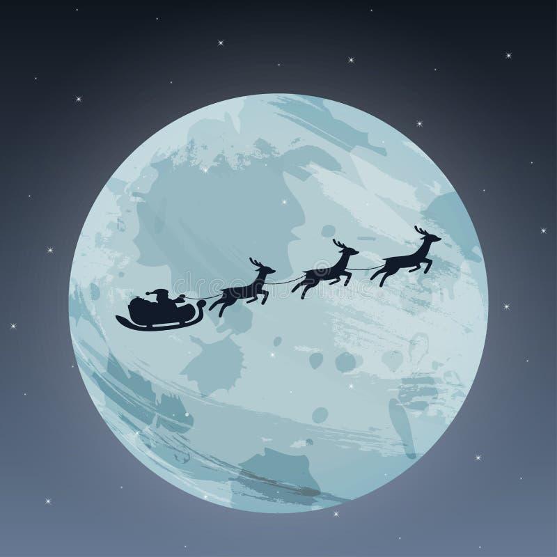 С Рождеством Христовым и счастливое искусство бумаги Нового Года Иллюстрация Санта Клауса и северного оленя на небе для того чтоб иллюстрация вектора