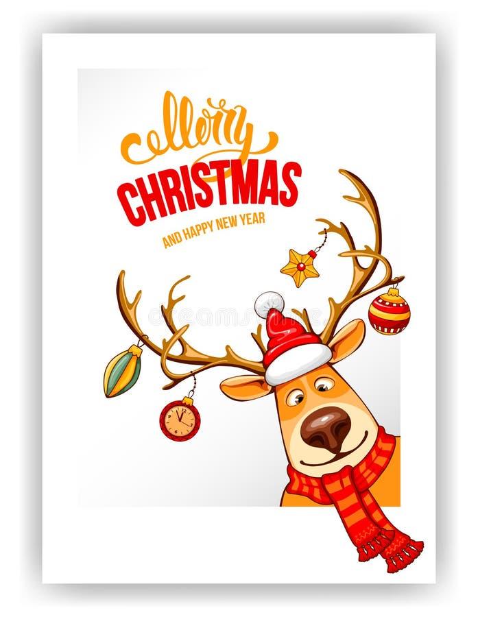 С Рождеством Христовым и счастливое приветствие Нового Года бесплатная иллюстрация