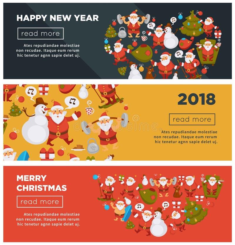 С Рождеством Христовым и счастливые плакаты 2018 интернета Нового Года с жизнерадостным Санта Клаусом с сумкой полной настоящего  иллюстрация штока