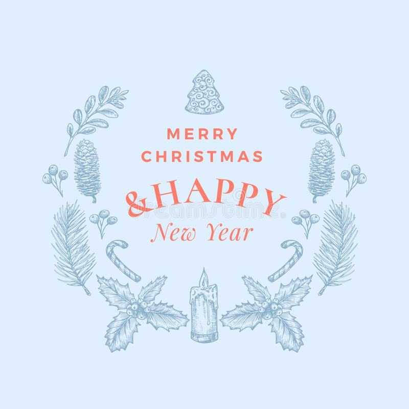 С Рождеством Христовым и счастливые поздравительная открытка или знамя конспекта Нового Года с венком рождества и ретро оформлени иллюстрация вектора