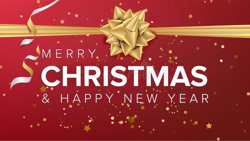 С Рождеством Христовым и счастливый вектор текста Нового Года Поздравительная открытка рождества, плакат, брошюра, дизайн шаблона бесплатная иллюстрация