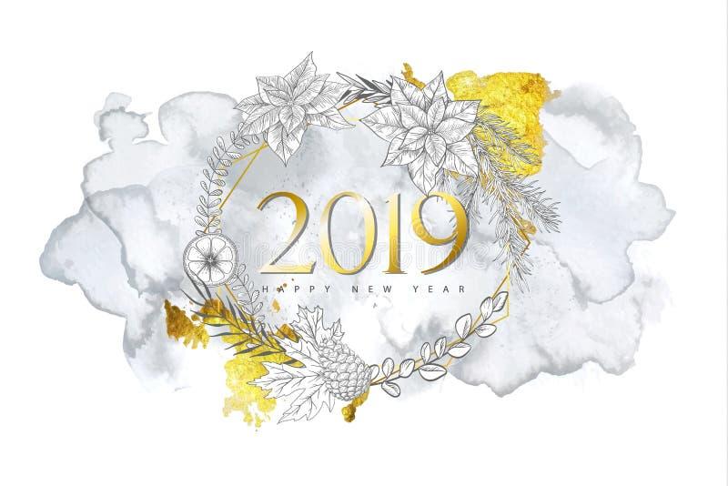 2019 с Рождеством Христовым и счастливых предпосылок Нового Года с нарисованными вручную заводами зимы, золотой геометрической фо иллюстрация штока