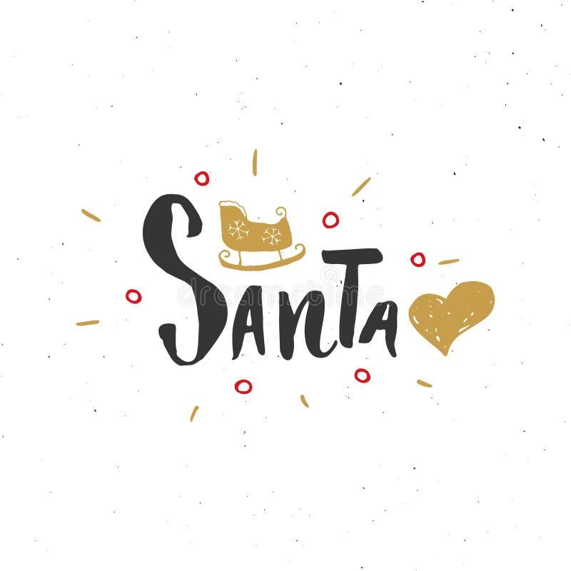 С Рождеством Христовым каллиграфическая влюбленность Санта литерности i Типографский дизайн приветствиям Литерность каллиграфии д бесплатная иллюстрация