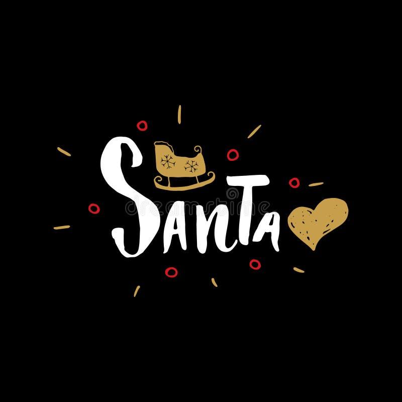 С Рождеством Христовым каллиграфическая влюбленность Санта литерности i Типографский дизайн приветствиям Литерность каллиграфии д иллюстрация штока