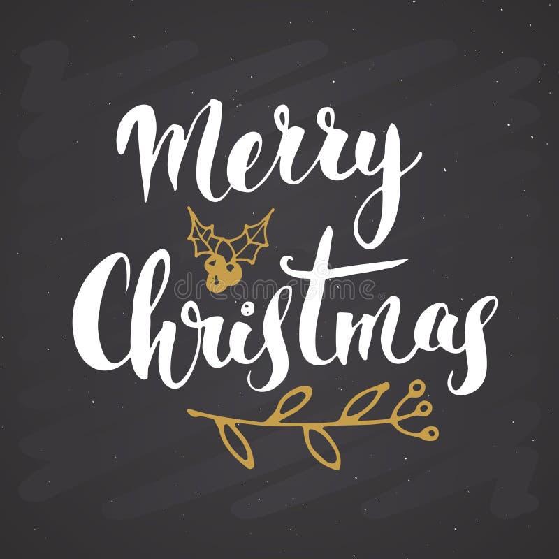 С Рождеством Христовым каллиграфическая литерность Типографский дизайн приветствиям Литерность каллиграфии для приветствия праздн бесплатная иллюстрация