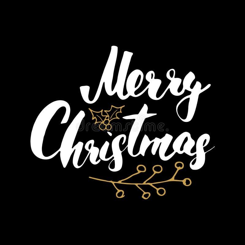 С Рождеством Христовым каллиграфическая литерность Типографский дизайн приветствиям Литерность каллиграфии для приветствия праздн иллюстрация штока