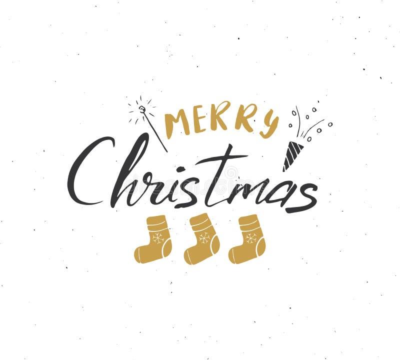С Рождеством Христовым каллиграфическая литерность Типографский дизайн приветствиям Литерность каллиграфии для приветствия праздн иллюстрация вектора