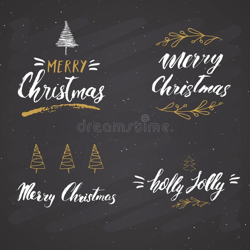 С Рождеством Христовым каллиграфический комплект литерности Типографский дизайн приветствиям Литерность каллиграфии для приветств иллюстрация штока