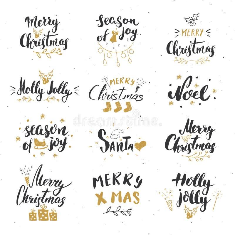 С Рождеством Христовым каллиграфический комплект литерности Типографский дизайн приветствиям Литерность каллиграфии для приветств иллюстрация вектора