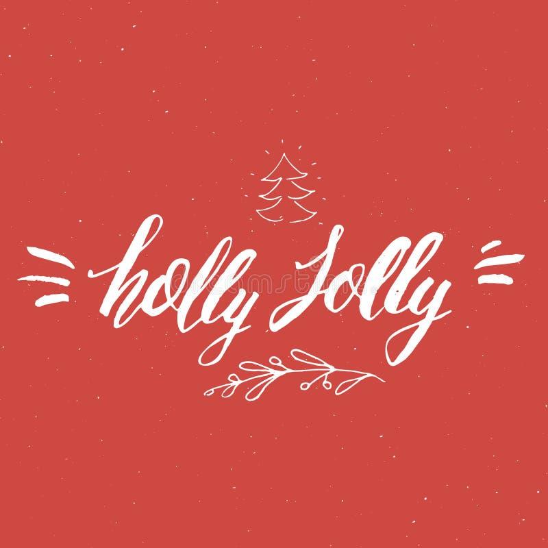 С Рождеством Христовым каллиграфический падуб литерности весёлый Типографский дизайн приветствиям Литерность каллиграфии для прив бесплатная иллюстрация