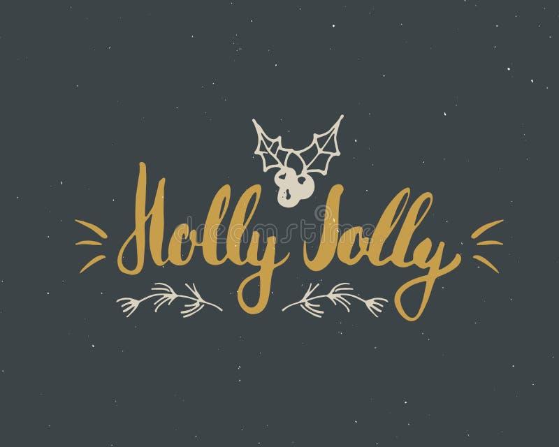 С Рождеством Христовым каллиграфический падуб литерности весёлый Типографский дизайн приветствиям Литерность каллиграфии для прив иллюстрация штока