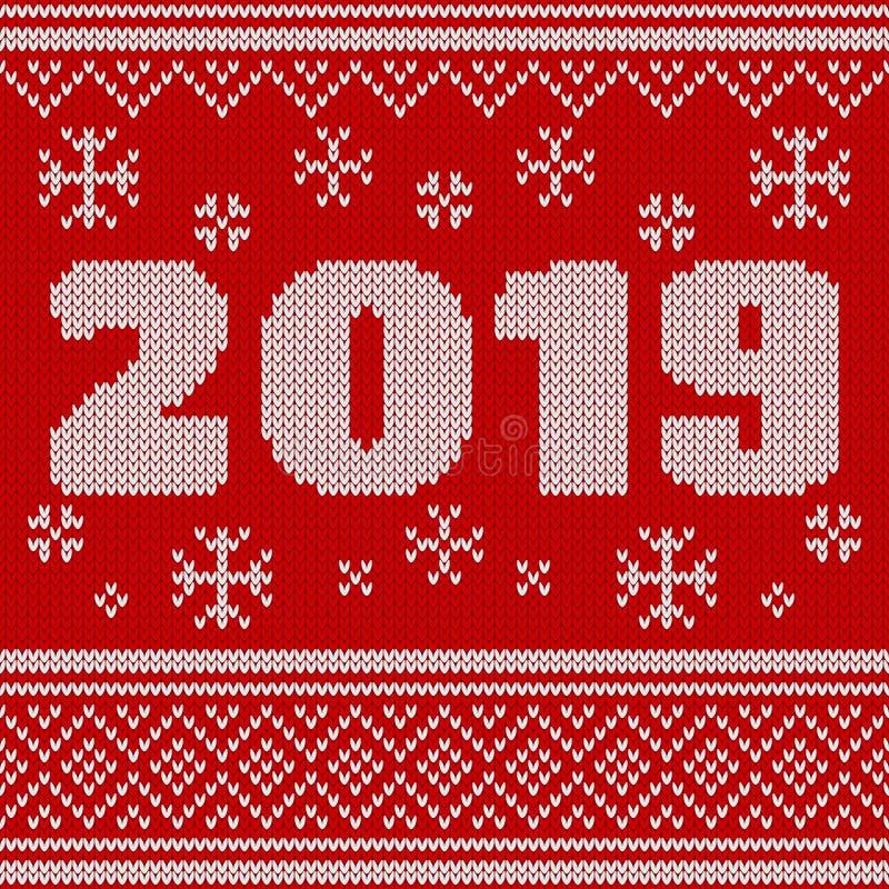 С Рождеством Христовым, картина Нового Года безшовная связанная с 2019 Вязать дизайн свитера Текстура связанная шерстями иллюстрация вектора