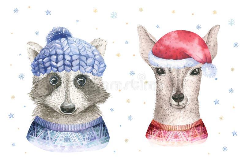 С Рождеством Христовым карточка акварели с элементами енота и младенца deerfloral Счастливые плакаты литерности пыжика Нового Год иллюстрация штока