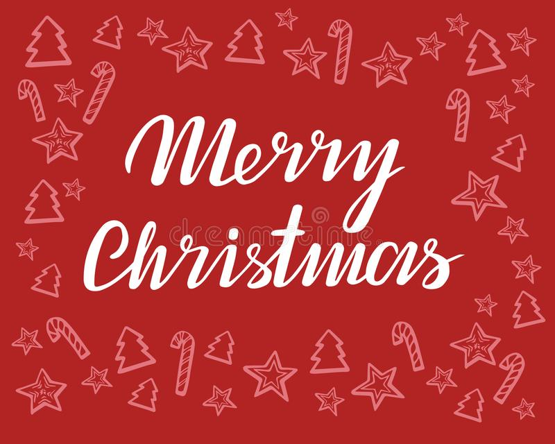 С Рождеством Христовым литерность вектора и нарисованный вручную график xmas карточка 2007 приветствуя счастливое Новый Год также иллюстрация штока