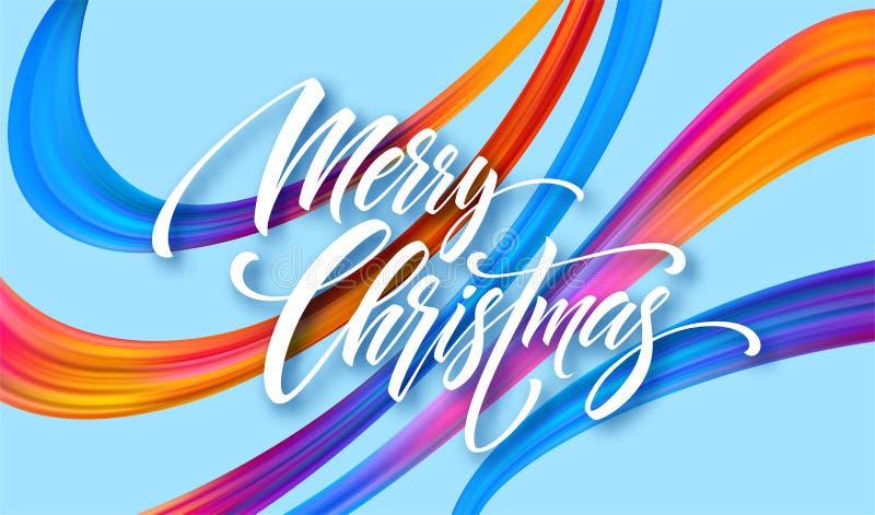 С Рождеством Христовым нарисованная рука помечающ буквами знамя для того чтобы конструировать иллюстрация штока