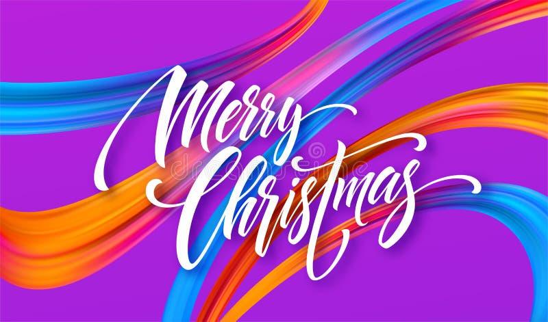 С Рождеством Христовым нарисованная рука помечающ буквами знамя для того чтобы конструировать бесплатная иллюстрация