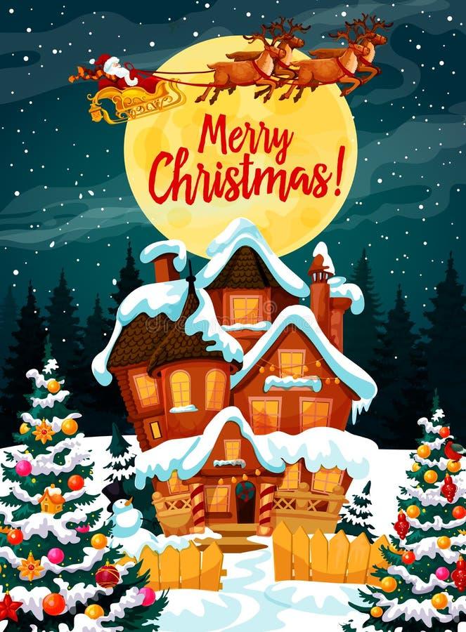 С Рождеством Христовым плакат с Санта Клаусом в проводке бесплатная иллюстрация