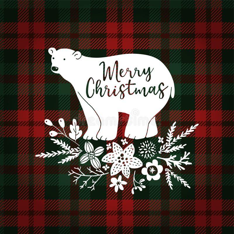 С Рождеством Христовым поздравительная открытка, приглашение Вручите вычерченного белого полярного медведя с ветвями ели Флористи иллюстрация вектора