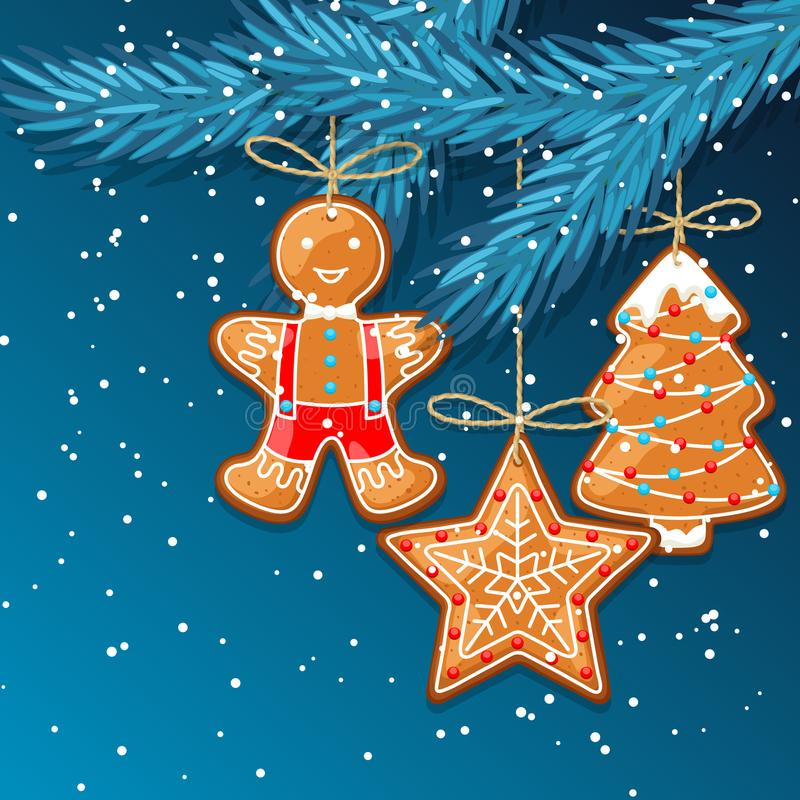 С Рождеством Христовым поздравительная открытка с пряником смертной казни через повешение иллюстрация вектора
