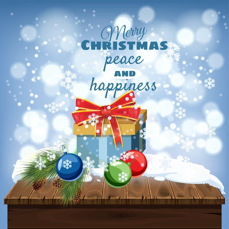С Рождеством Христовым поздравительная открытка, старая таблица покрытая с снегом, подарочными коробками, украшениями рождества,  бесплатная иллюстрация