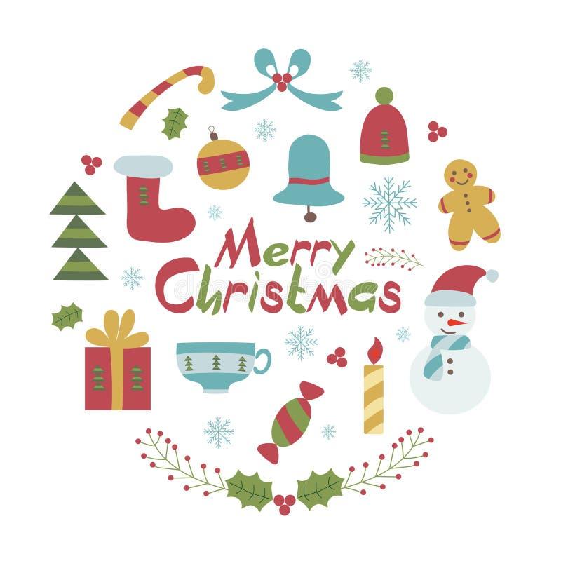 С Рождеством Христовым рождественская открытка в ребяческом стиле иллюстрация вектора