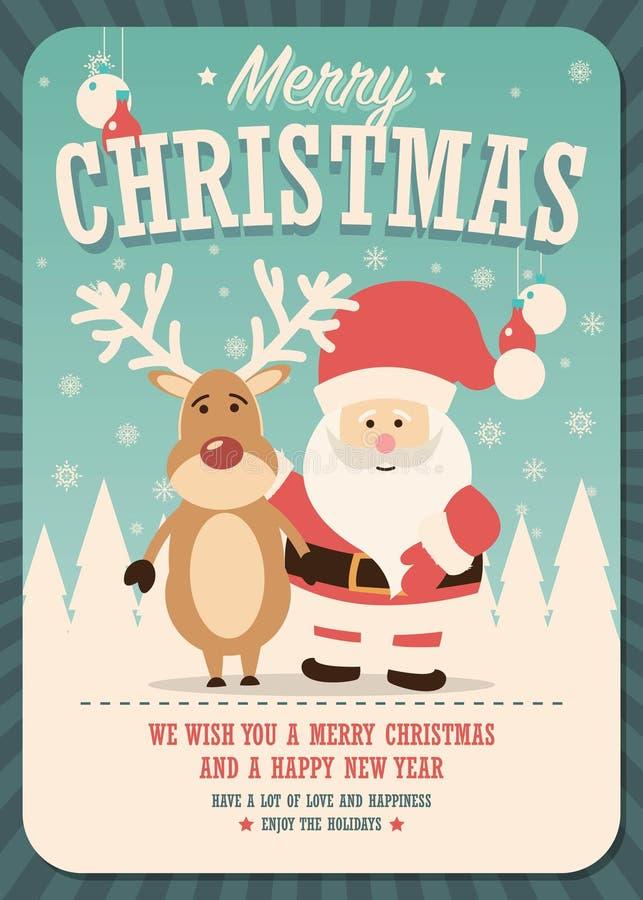 С Рождеством Христовым рождественская открытка с Санта Клаусом и северным оленем на предпосылке зимы иллюстрация штока