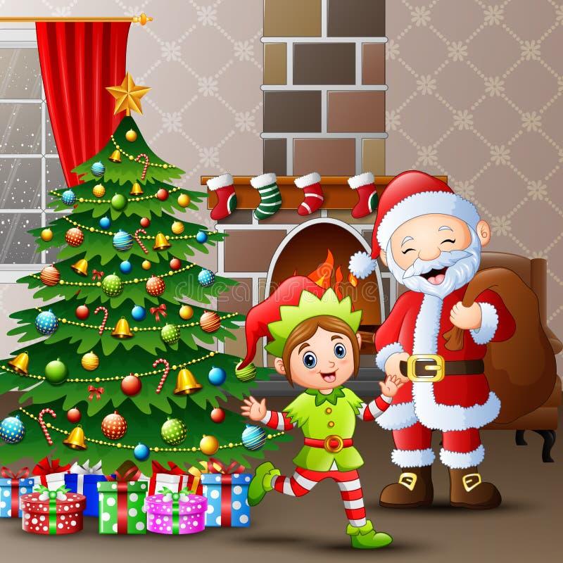 С Рождеством Христовым с Санта Клаусом и эльфами дома бесплатная иллюстрация