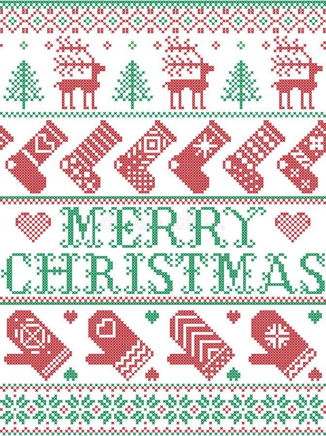 С Рождеством Христовым скандинавская картина в нордической зиме и рождестве сшила стиль, включая снежинки, звезды, снег, сердце иллюстрация вектора