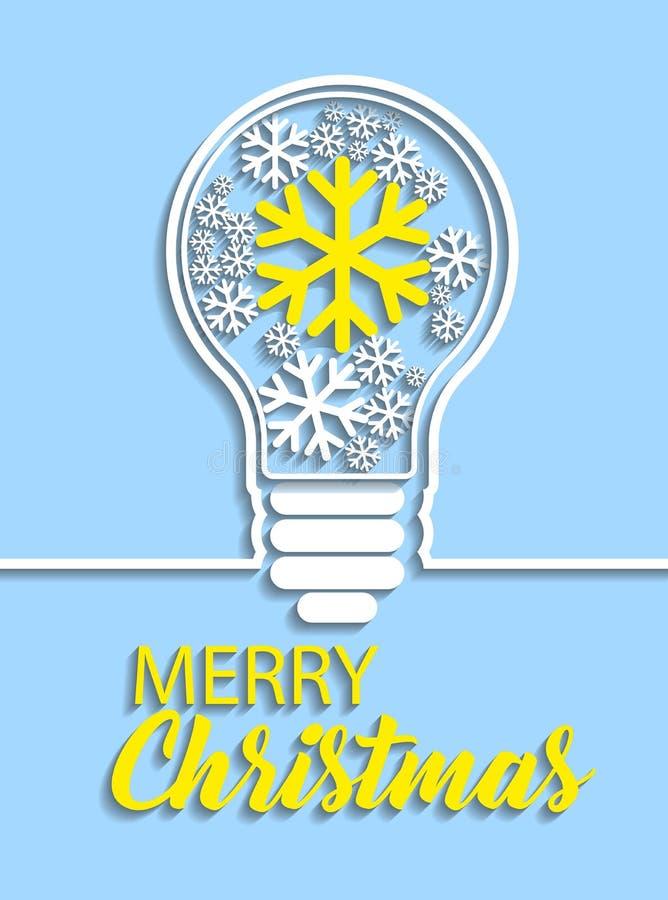 С Рождеством Христовым снежинки в электрической лампочке на голубой предпосылке иллюстрация штока