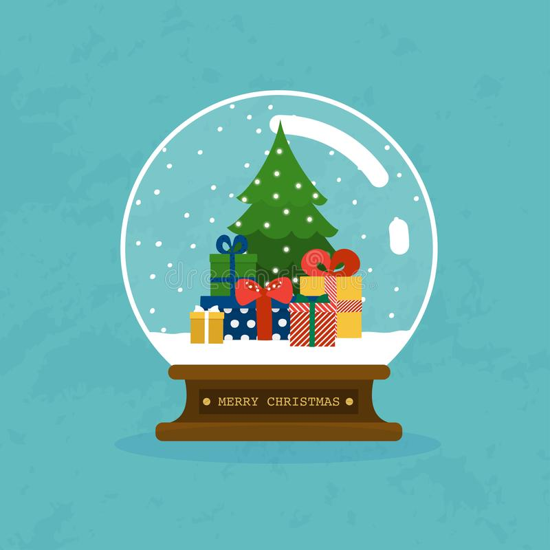 С Рождеством Христовым стеклянный шарик с рождественской елкой и подарками Плоский d бесплатная иллюстрация