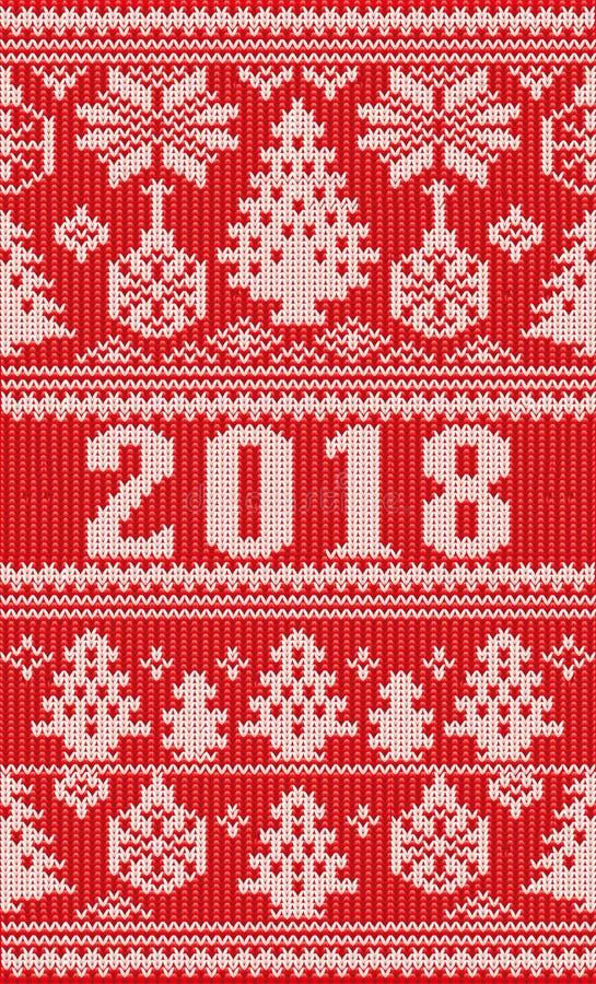 С Рождеством Христовым счастливые новые связанные праздники 2018 год бесплатная иллюстрация