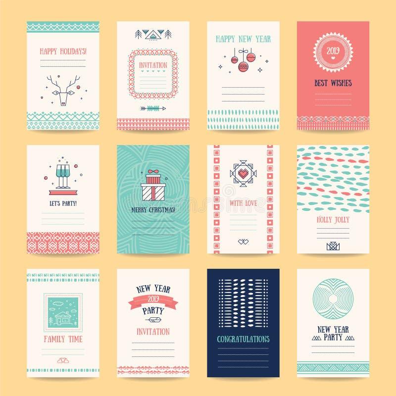 С Рождеством Христовым, счастливые шаблоны дизайна Нового Года бесплатная иллюстрация