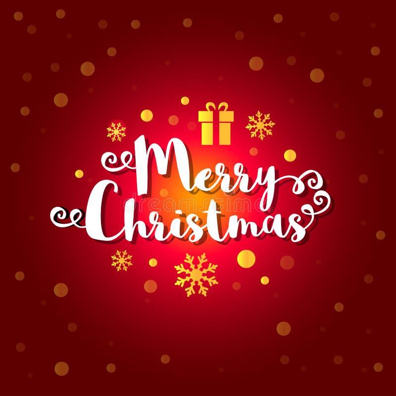 С Рождеством Христовым текст с золотыми снежинками, присутствующее дальше глубоким - красная предпосылка также вектор иллюстрации иллюстрация вектора