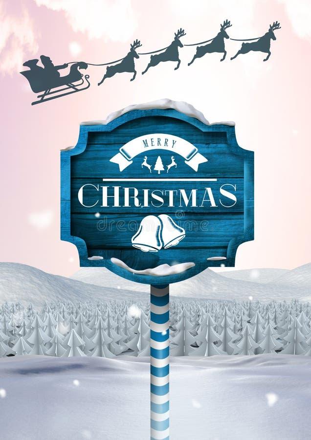 С Рождеством Христовым текст на деревянном указателе в reindee ландшафте зимы рождества и ` s Санты сани и иллюстрация штока
