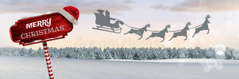 С Рождеством Христовым текст на деревянном указателе в reindee ландшафте зимы рождества и ` s Санты сани и бесплатная иллюстрация